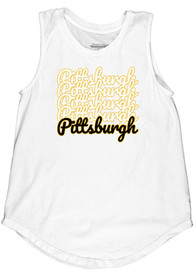 Pittsburgh Women's Repeating Wordmark Muscle Tank - White