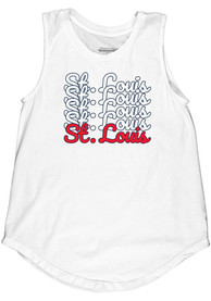 St. Louis Women's Repeating Wordmark Muscle Tank - White