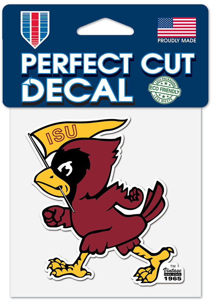 Iowa State Cyclones 4x4 Vintage Auto Decal - Red