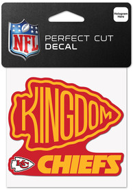 Kansas City Chiefs Kingdom 4x4 Perfect Cut Auto Decal - Red