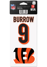 Joe Burrow Cincinnati Bengals 4x4 2Pk Joe Burrow Auto Decal - Orange
