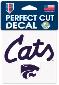 K-State Wildcats Cats Script 4x4 Auto Decal - Purple