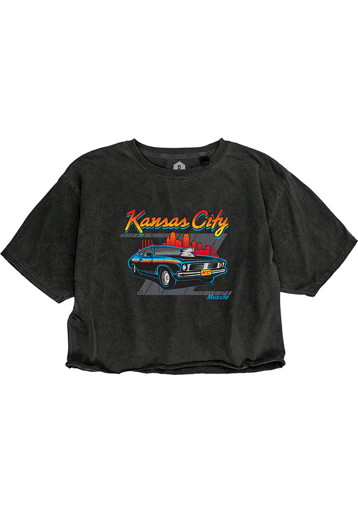 Kansas City Women's Muscle Car Cropped Short Sleeve T-Shirt - Reactive Black - Image 1