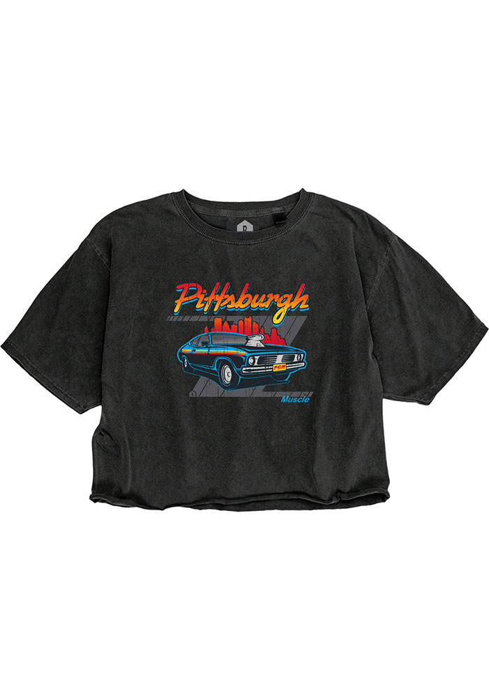 Pittsburgh Women's Muscle Car Cropped Short Sleeve T-Shirt - Reactive Black - Image 1