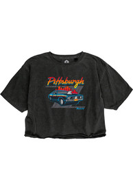 Pittsburgh Women's Muscle Car Cropped Short Sleeve T-Shirt - Reactive Black