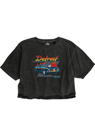 Detroit Women's Muscle Car Cropped Short Sleeve T-Shirt - Reactive Black