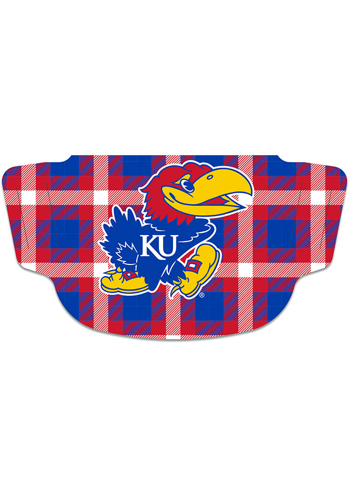 Kansas Jayhawks Buffalo Check Fan Mask - Blue