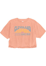 Cleveland Women's Dusty Rose Lake Erie Sun Cropped Short Sleeve T-Shirt