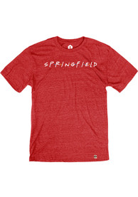 Springfield Heather Red Wordmark Dots Short Sleeve T-Shirt
