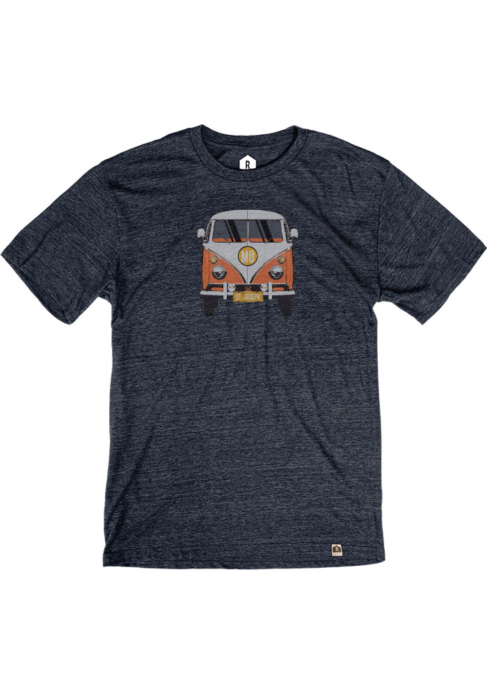 St. Joe Heather Navy VW Bus Short Sleeve T-Shirt - Image 1