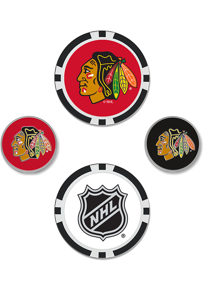 Chicago Blackhawks 4-Pack Set Golf Ball Marker - Image 1