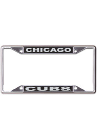 Chicago Cubs Black and Silver Metallic Inlaid License Frame