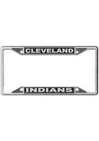 Cleveland Indians Black and Silver Metallic Inlaid License Frame