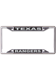 Texas Rangers Black and Silver Metallic Inlaid License Frame