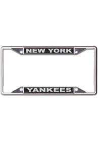 New York Yankees Black and Silver Metallic Inlaid License Frame