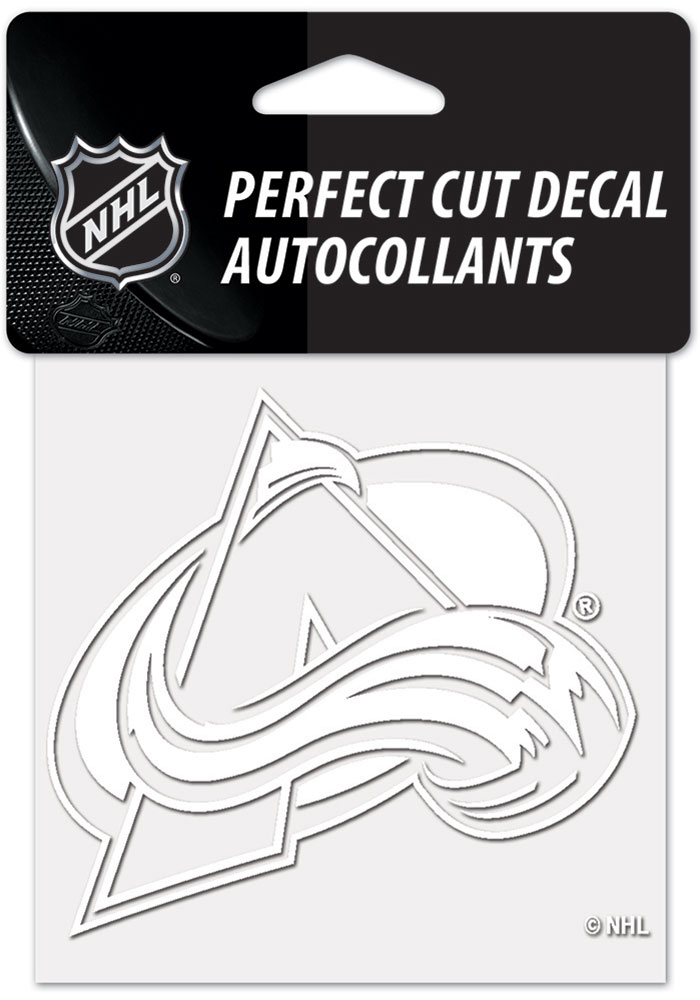 Colorado Avalanche White 4x4 Inch Auto Decal - White