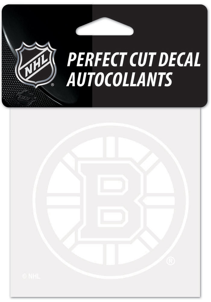 Boston Bruins White 4x4 Inch Auto Decal - White