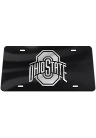 Ohio State Buckeyes Silver Team Logo Black Car Accessory License Plate