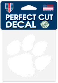 Clemson Tigers 4x4 inch White Auto Decal - White
