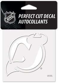 New Jersey Devils White 4x4 Inch Auto Decal - White