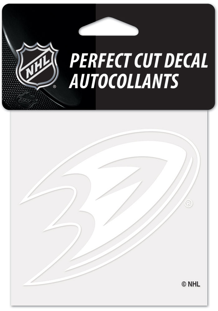 Anaheim Ducks White 4x4 Inch Auto Decal - White