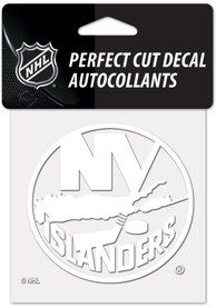 New York Islanders White 4x4 Inch Auto Decal - White