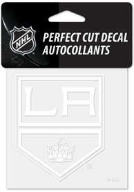 Los Angeles Kings White 4x4 Inch Auto Decal - White