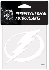 Tampa Bay Lightning White 4x4 Inch Auto Decal - White