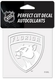 Florida Panthers White 4x4 Inch Auto Decal - White