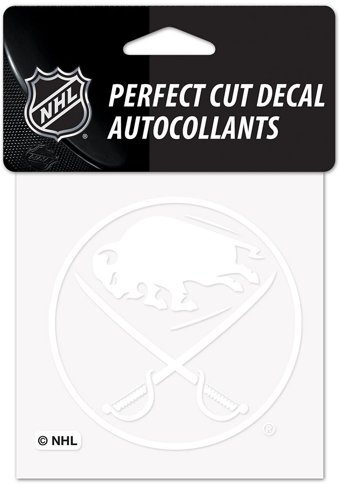 Buffalo Sabres White 4x4 Inch Auto Decal - White