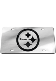 Pittsburgh Steelers Black on Silver Car Accessory License Plate