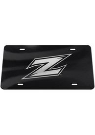Akron Zips Silver Team Logo Black Car Accessory License Plate