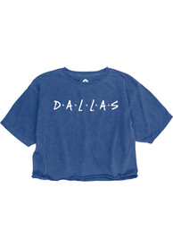 Dallas Women's Royal Dots Wordmark Cropped Short Sleeve T-Shirt