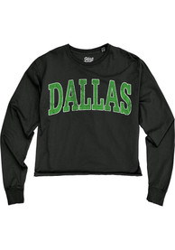 Dallas Women's Reactive Black Oversized Font Cropped Long Sleeve T-Shirt