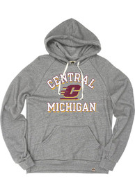 Central Michigan Chippewas Rally Number One Graphic Distressed Fashion Hood - Grey