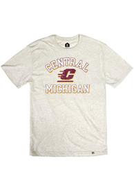 Central Michigan Chippewas Rally Number One Graphic Distressed Fashion T Shirt - Oatmeal
