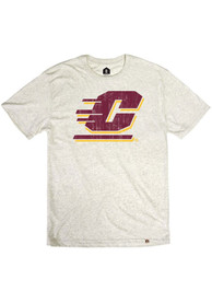 Central Michigan Chippewas Rally Primary Team logo Distressed Fashion T Shirt - Oatmeal