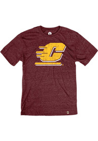 Central Michigan Chippewas Rally Primary Team logo Distressed Fashion T Shirt - Maroon