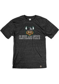Cleveland State Vikings Rally Triblend Distressed Name Drop Fashion T Shirt - Black
