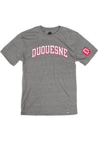 Duquesne Dukes Rally Triblend Arch Name Arm Hit Fashion T Shirt - Grey