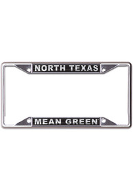 North Texas Mean Green Metallic Black and Silver License Frame