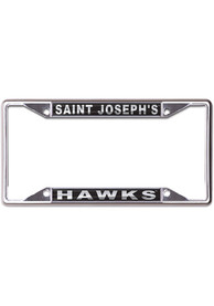 Saint Josephs Hawks Metallic Black and Silver License Frame