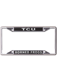 TCU Horned Frogs Metallic Black and Silver License Frame