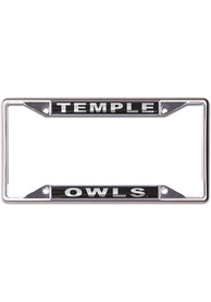 Temple Owls Metallic Black and Silver License Frame
