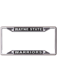 Wayne State Warriors Metallic Black and Silver License Frame