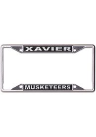 Xavier Musketeers Metallic Black and Silver License Frame