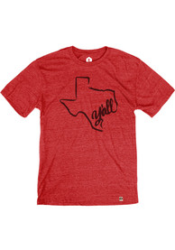 Texas Heather Red State Shape Y'all Short Sleeve T-Shirt