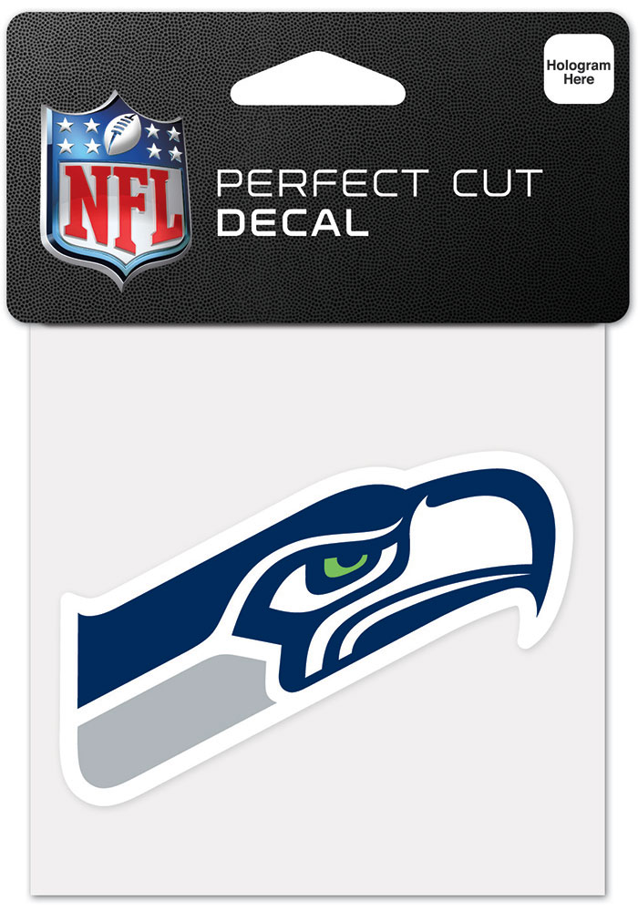 Seattle Seahawks 4x4 Inch Auto Decal - Blue - Image 1
