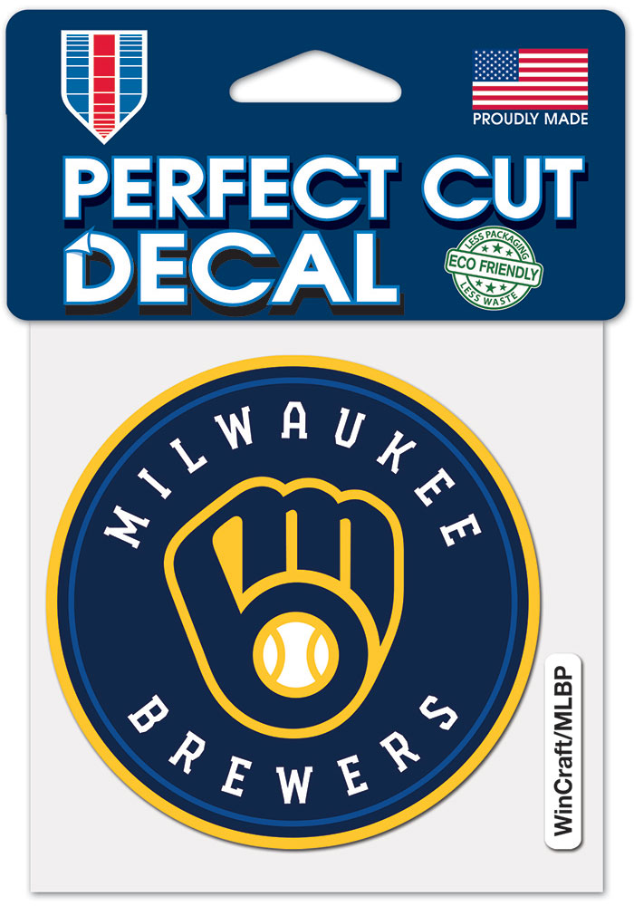 Milwaukee Brewers 4x4 inch Auto Decal - Blue - Image 1