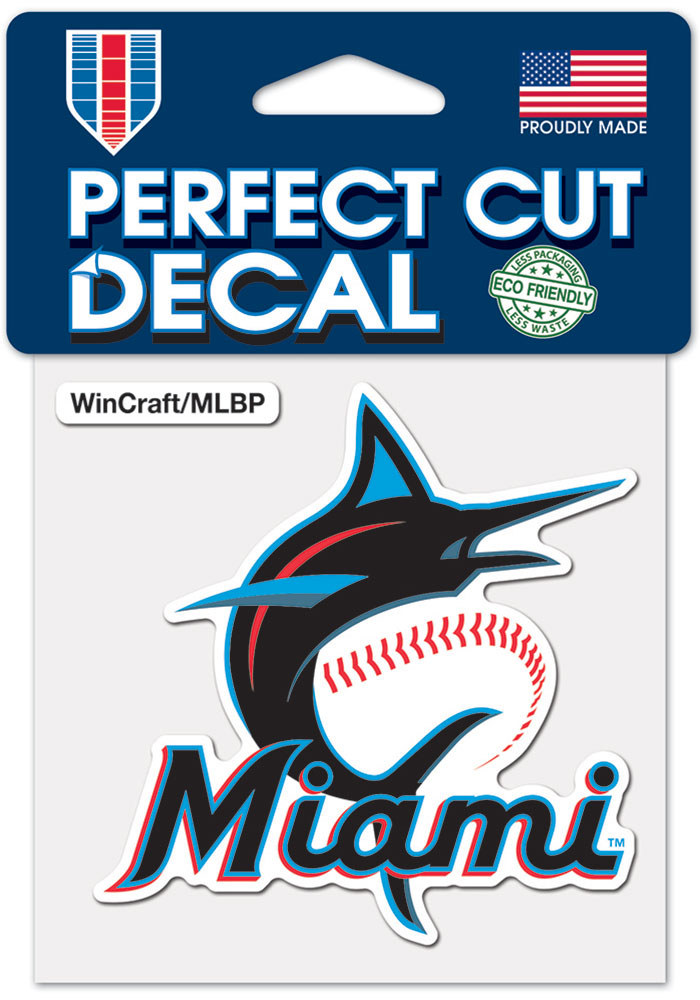 Miami Marlins 4x4 inch Auto Decal - Blue
